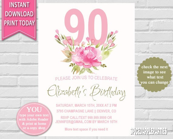 Birthday Invitation 90th Watercolor Flowers PartyFloral Invitationfloral