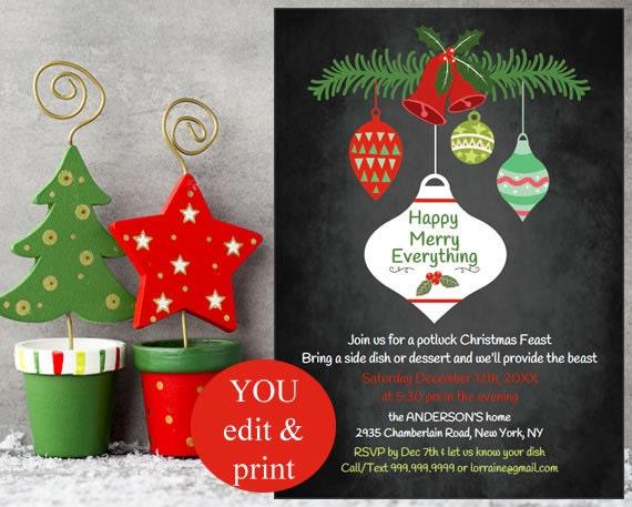 christmas invitation holiday invitation christmas party potluck