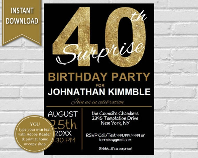 40th Surprise Birthday Invitation Invite