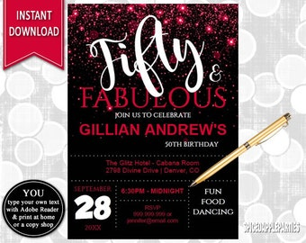 50th Birthday Invitation for women red | 50 and Fabulous Invitation, 50th Birthday Invites,Elegant 50th Birthday Invitation,INSTANT DOWNLOAD