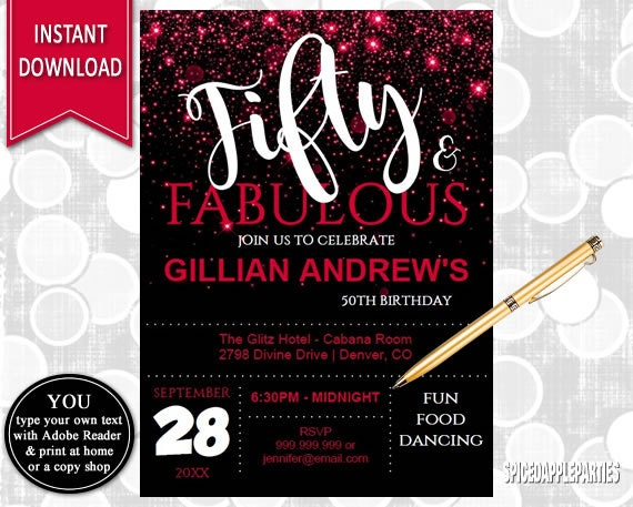 50th Birthday Invitation For Women Red 50 And Fabulous