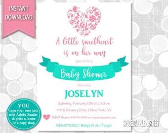 Baby Shower, Baby Shower Invite, Valentine Baby, Girl Baby Shower, Valentine Shower, Little Sweetheart, Baby Girl Shower, Valentines Shower