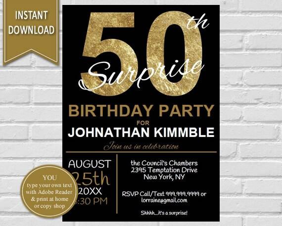 50th surprise birthday invitation 50th birthday surprise birthday