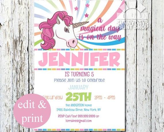 Rainbow Unicorn 5th Birthday Invitation 1st Party