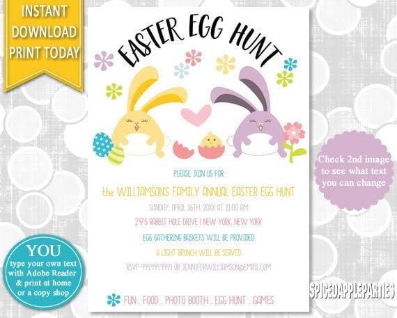 Easter Egg Hunt Easter Bunny Egg Hunt Invitation Easter