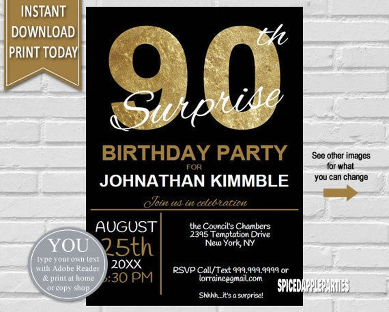 90th Surprise Birthday Invitation Invite
