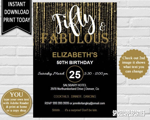 50th Birthday Fifty And Fabulous Invitation