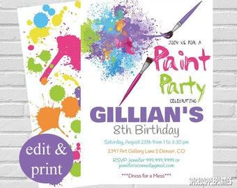 Paint Party Invitation | Art Party Invitation, Paint Party Birthday Invitation, Painting Party,Art Party Invite INSTANT DOWNLOAD