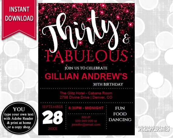 30th Birthday Invitation Adult Party Milestone 0th
