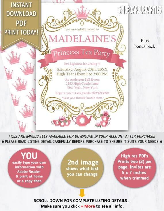 Princess Tea Party Invitation Tea Party Princess Tea Party