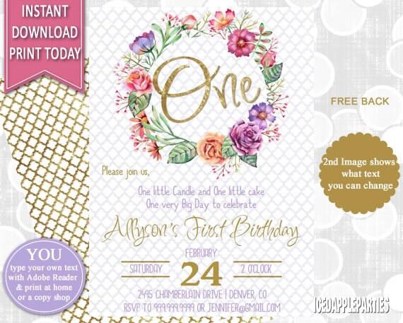 first birthday birthday invitation watercolor 1st birthday etsy