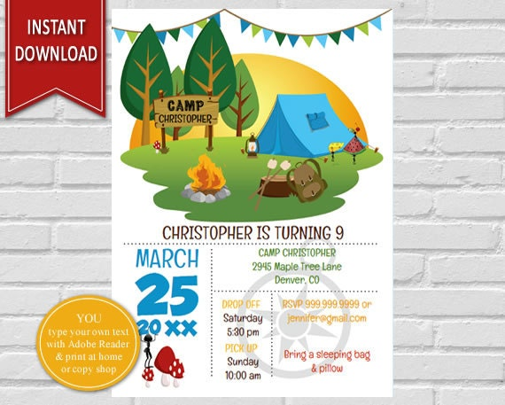 camping birthday camping invitation camping party birthday