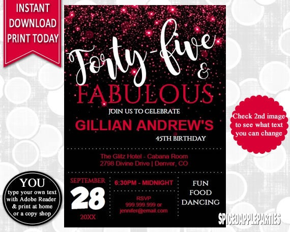 45th Birthday Invitation Party Adult Invite