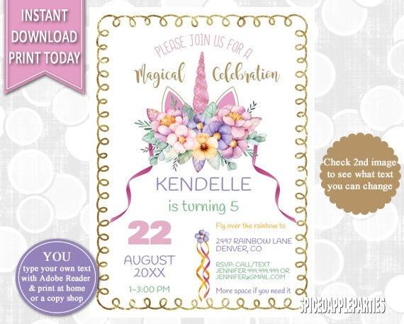 Unicorn First Birthday Head Invite Invitation Party