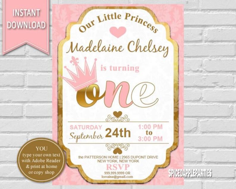 Princess Birthday Invitation First