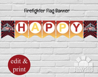Fireman Birthday Banner,Firefighters Birthday Banner, INSTANT DOWNLOAD--Edit with Adobe Reader, DIY