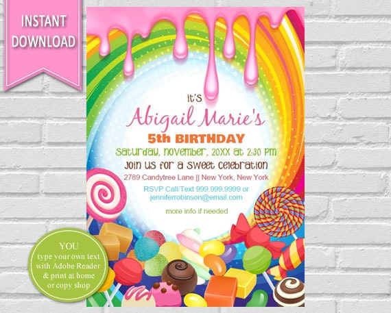 Candyland Birthday Invitation Sweet Shoppe Candyland Party Candy