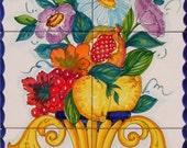Hand Painted Tile Mural - Amphora Vase - Spring Decor - Floral Vase - Flower Vase - Vertical Wall Art - Backsplash Tiles