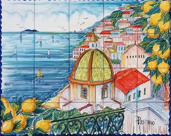Ceramic Murals For Kitchen Backsplash Coast Of Positano Etsy - Ceramic tile murals for outdoors