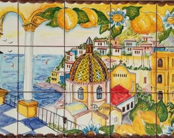 Hand Painted Italian Tile Mosaic Amalfi Coast Colorful Etsy