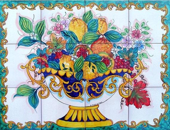 Decorative Kitchen Backsplash Tiles Hand Painted Tile Mural Etsy