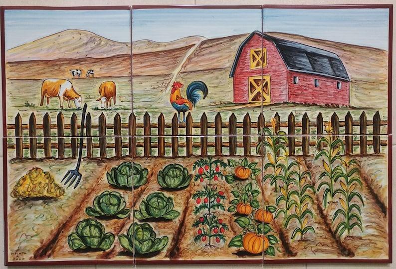 Cucina piastrella murale orto scena dellazienda etsy