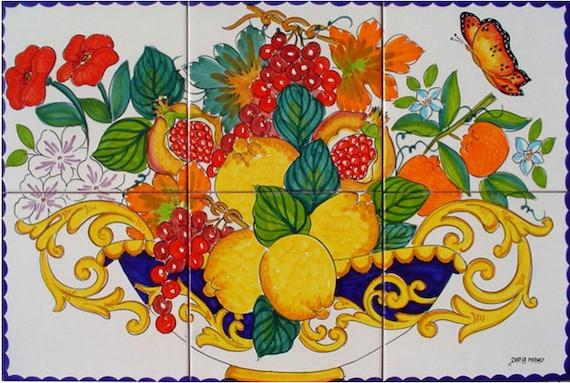 Dipinti a mano piastrelle di ceramica fruit bowl frutta etsy