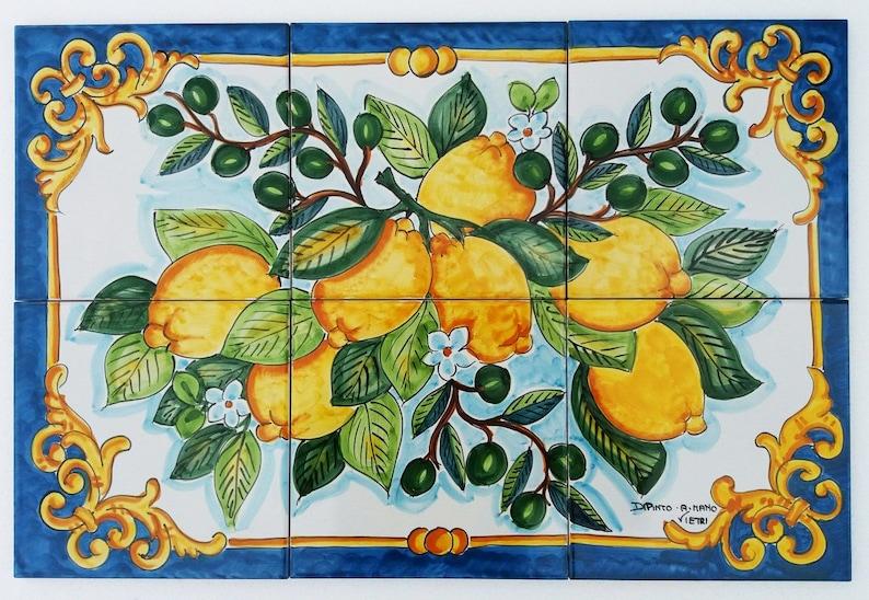 Piastrella murale limone olive branch ramo tavolo top etsy