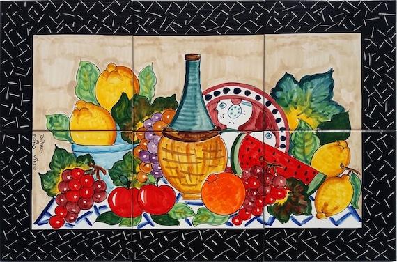 Piastrelle decorative scena frutto di frutta e vino vigneto etsy