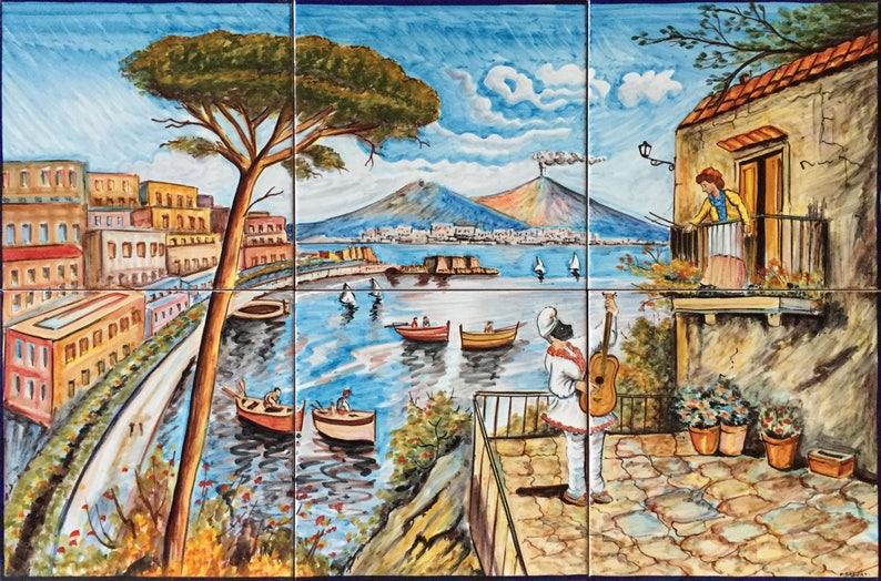 Piastrella backsplash murale antica veduta di napoli 800 900 etsy