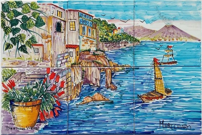 Mattonelle di ceramica murale marechiaro napoli italia etsy