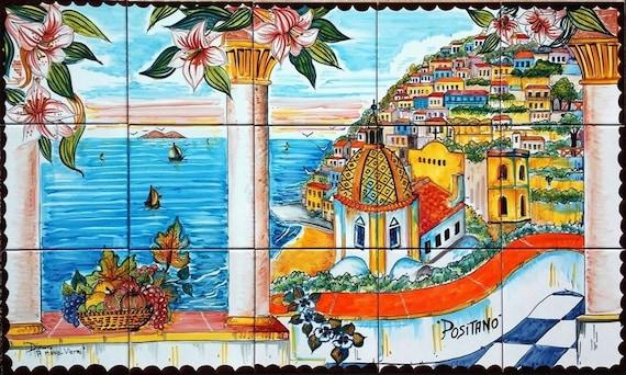 Italian Tile Murals Positano Italy Art Tile Hand Painted Etsy