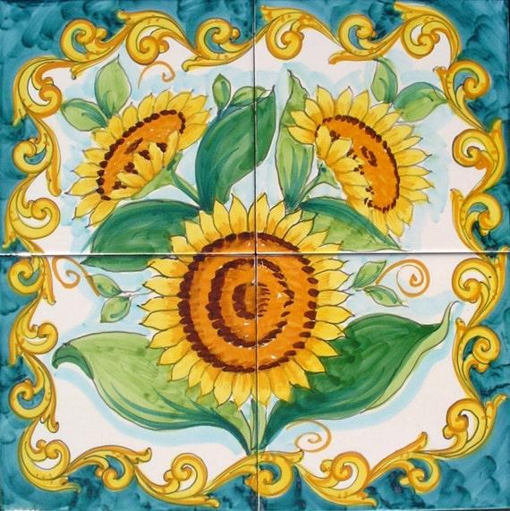 Küche Aufkantung Wandbild Sonnenblumen Gemälde Sonnenblume