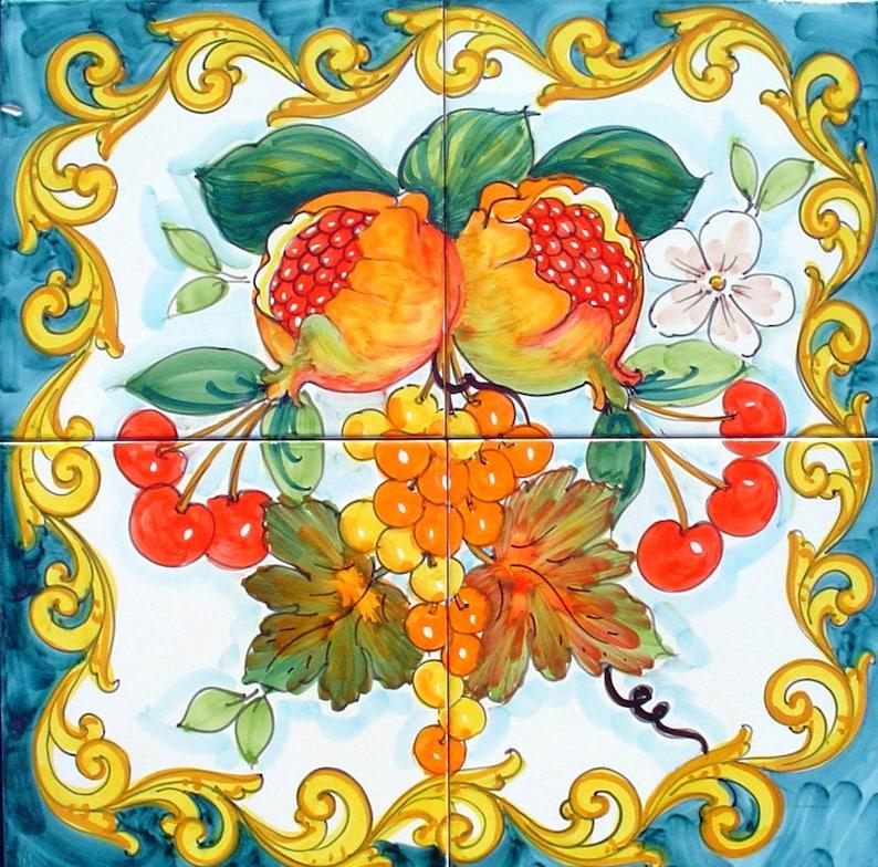 Enjoyable Ceramic Tile Backsplash Tile Mural Cherry And Pomegranate Ceramic Art Backsplash Tiles Wall Decor Kitchen Mural Outdoor Painting Download Free Architecture Designs Xoliawazosbritishbridgeorg