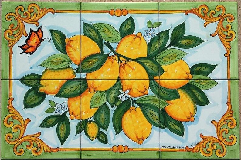 Piastrella murale limone ramo delle mattonelle di ceramica etsy