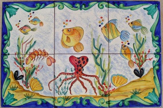 Piastrella murale vietri mare bagno impermeabile pannello etsy