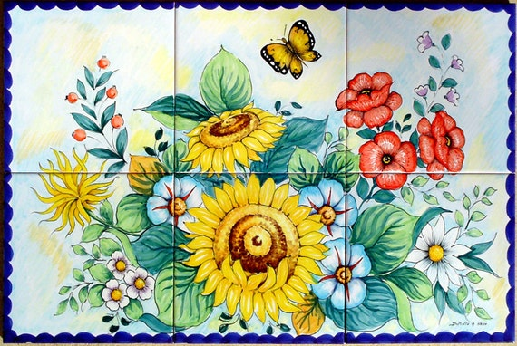 Flower Bathroom Tiles Backsplash Flowers Painting - Sunflower - Poppies - Butterfly - Decor Fine Art