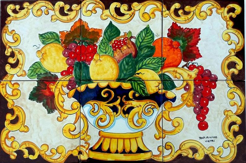 Dipinti a mano piastrelle di ceramica italiane frutta cesto etsy