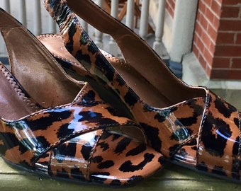 Tortoiseshell/Cheetah Print Franco Sarto Strap-Back Wedges | Size 6