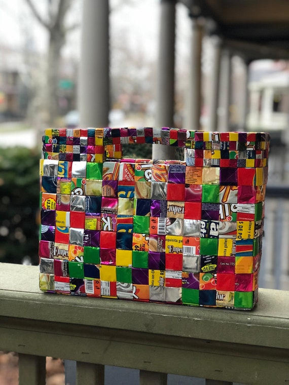 Structured Upcycled Handbag Made of Candy & Bubble