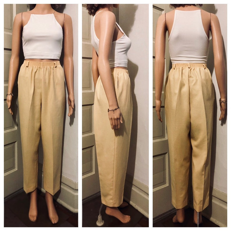 0ccba46a628 Vintage High Rise Pale Yellow Casual Pants    Comfortable