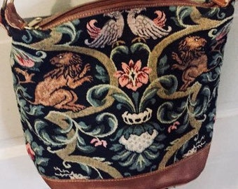 Beautiful Tapestry Leather Shoulder Bag