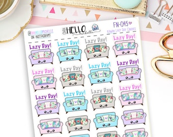 Kawaii Lazy Day Couches FN-045 | 24 Planner Stickers
