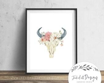 Floral Bull Skull - Wall Art Print