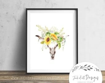 Foral Bull Skull - Wall Art Print