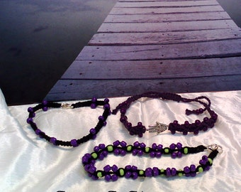 Passionate Purple 3 Bracelet macrame set