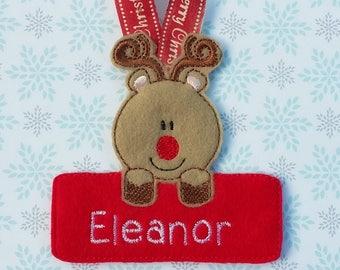 Personalised Christmas tree decoration, Reindeer Christmas tree decoration, personalised Christmas ornament, reindeer decoration, googly eye