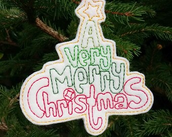 Merry Christmas felt tree decoration, A Very Merry Christmas tree decoration