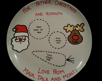 Christmas plate for Santa / Father Christmas and Rudolph treats, personalised Christmas Eve plate, hand painted in porcelain paints