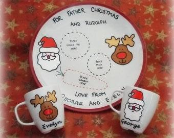 Personalised Christmas plate and mug set - Christmas Eve plate for Santa / Father Christmas and Rudolph treats, with matching child's mug,